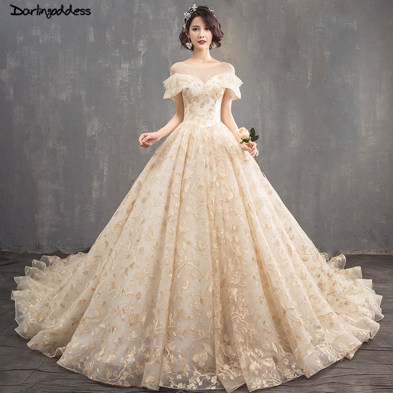 US $176.8 40% OFF|Luxury Champagne Wedding Dress 2019 Ball Gown Gold  Embroidery Dubai Princess Wedding Gowns Plus Size Long Train Vestido de  Noiva-in ...