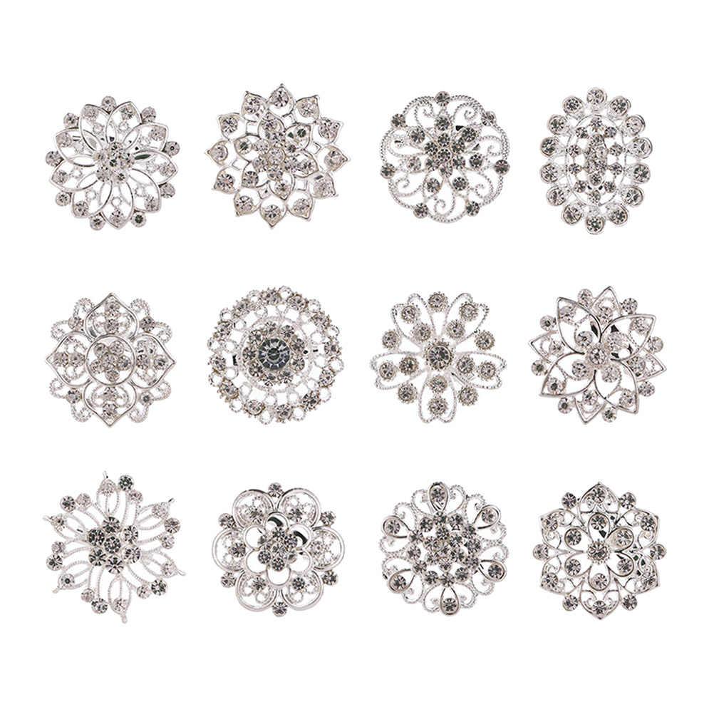 12 ชิ้นผู้หญิง Pins ตกแต่งเพชร Silver Alloy Breastpin Pin เข็มกลัดอุปกรณ์เสริมสำหรับเสื้อผ้าผ้าพันคอชุดหญิง