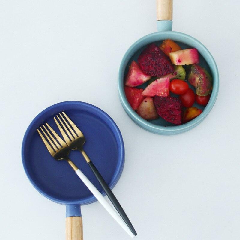 Nordic Ceramic Soup Rice Bowl Sigle Wooden Handle Pan 1