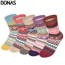 BONAS 5pairs/lot Warm Cotton Socsk Winter Thick Stripe Wool Socks Women Fashion Breathable Sock Casual Calcetines Cashmere