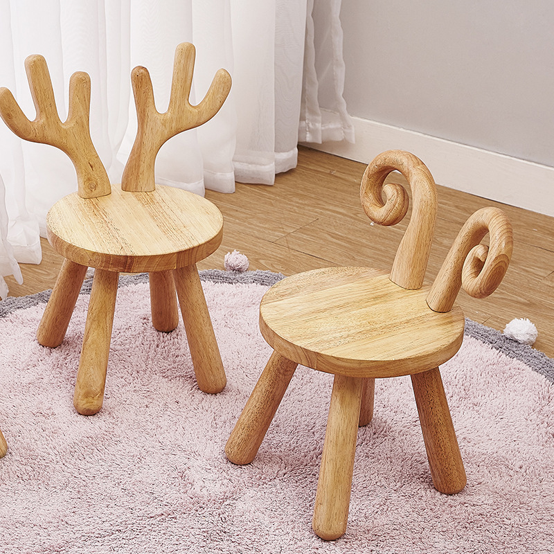 Ins Northern Europe Style Lamb Kids Chair Children Furniture House Decoration Solid Mini Wooden Stool Baby Collocation Prop
