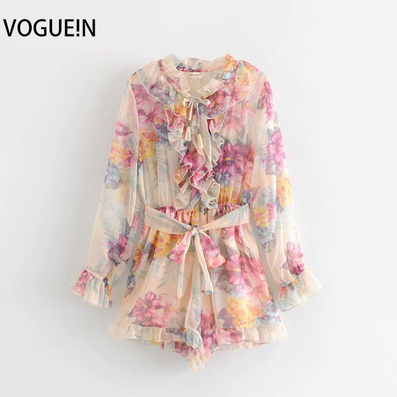 VOGUEIN New Womens Summer Floral Print Chiffon Ruffled Tie Belt   Jumpsuit   Playsuits Wholesale