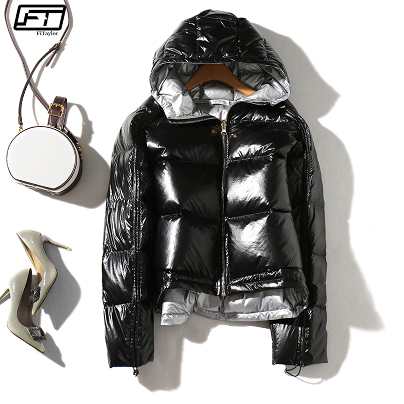 Fitaylor Winter Women Silver Down Parkas Coats Hooded White Duck Down Jacket Double Sided Waterproof Zipper