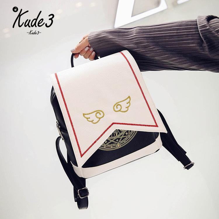 Kawaii Backpack PU Women Backpack With Angel Wings Anime Card Captor Sakura Mini Cardcaptor Sakura Printing School Bags Sac 8446