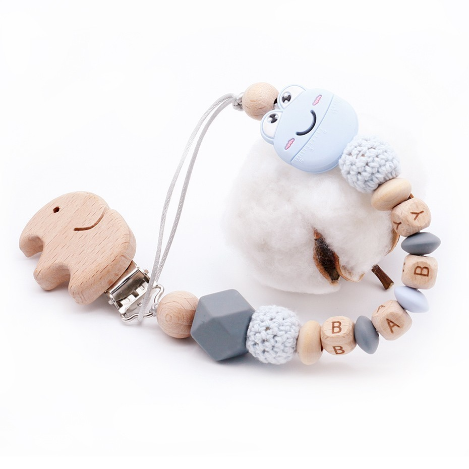 Cute Baby Personalized Wooden Bead Pacifier Soother Dummy Clip Holder Girl Boyhi