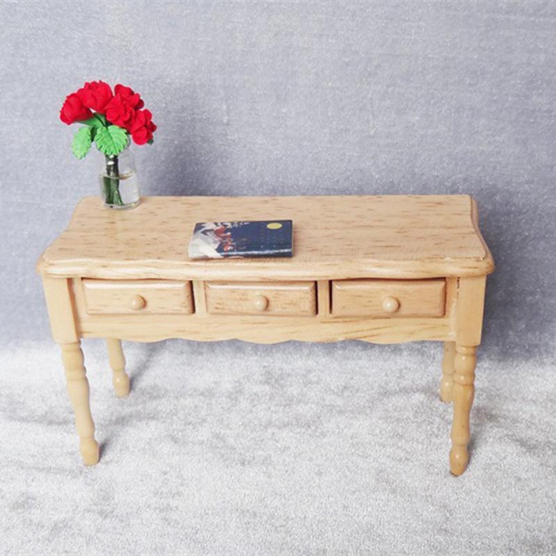 New Wooden Color Table Accessory Mini Furniture Desk Study Room Scene Table Decoration with Drawer Desk Kids Pretend Play ToyNew Wooden Color Table Accessory Mini Furniture Desk Study Room Scene Table Decoration with Drawer Desk Kids Pretend Play Toy