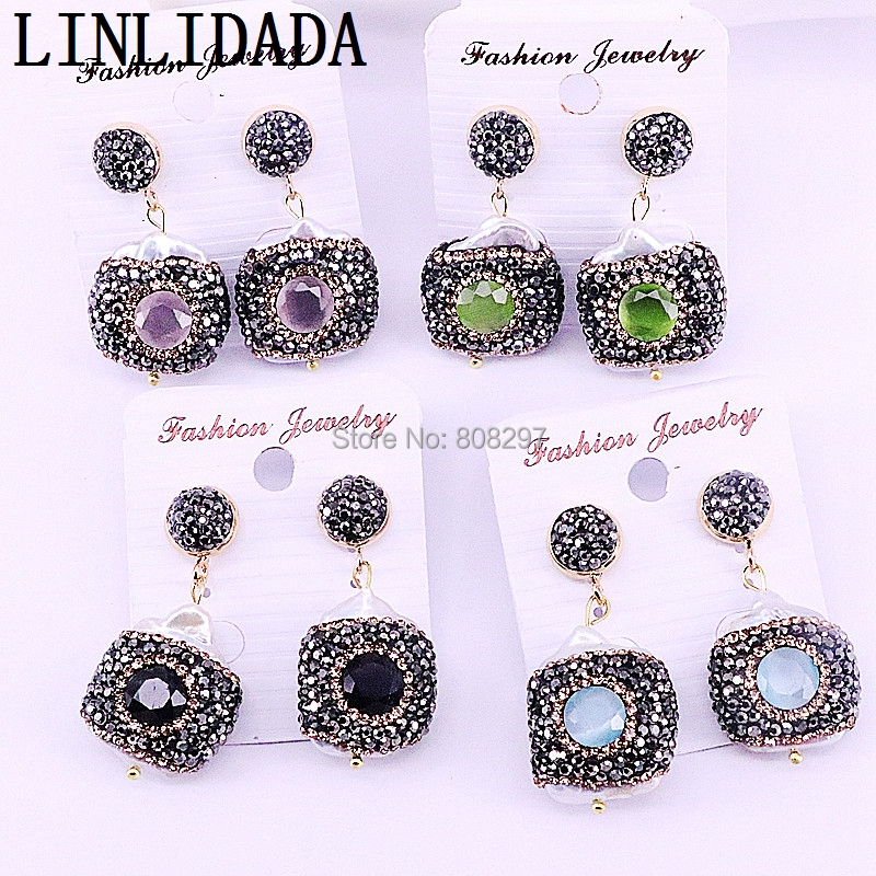 5Pairs New Arrival Cat eye stones Mix colors drop earrings rhinestone paved gems earring jewelry for