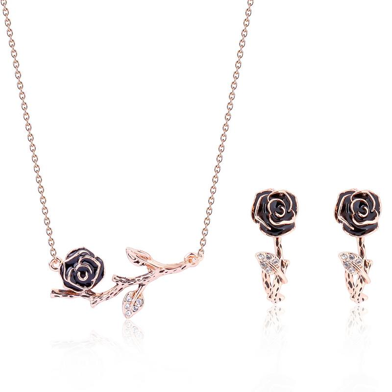 Free Shipping Necklace Earrings Two-piece Female Party Wedding Jewelry Set Rhinestone Retro Vintage Style Women Jewelry