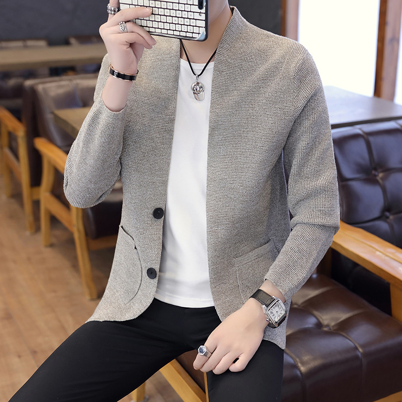 2019 Spring New Sweater Dress Black Men Male Button Cardigan Loose Coat Teenagers Thin Section Knitting Shirt Clothes