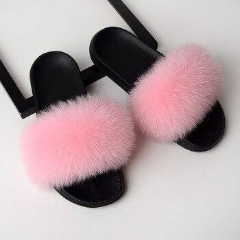 Mirsicas Glam Fox Fur Slides Home Furry Flat Sandals