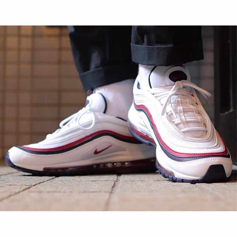 acheter en ligne e7d71 30b06 Nike Air Max 97 White Red Bullet Men Running Shoes Air Cushion Leisure Time  Shoes Comfortable Sports Sneakers #921733-102