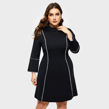 Office Dress Women Plus Size 5XL New Simple Black Elegant Slim Spring Fashion Casual Work Wear Ladies Party A Line Short Dresses short dresses office wear