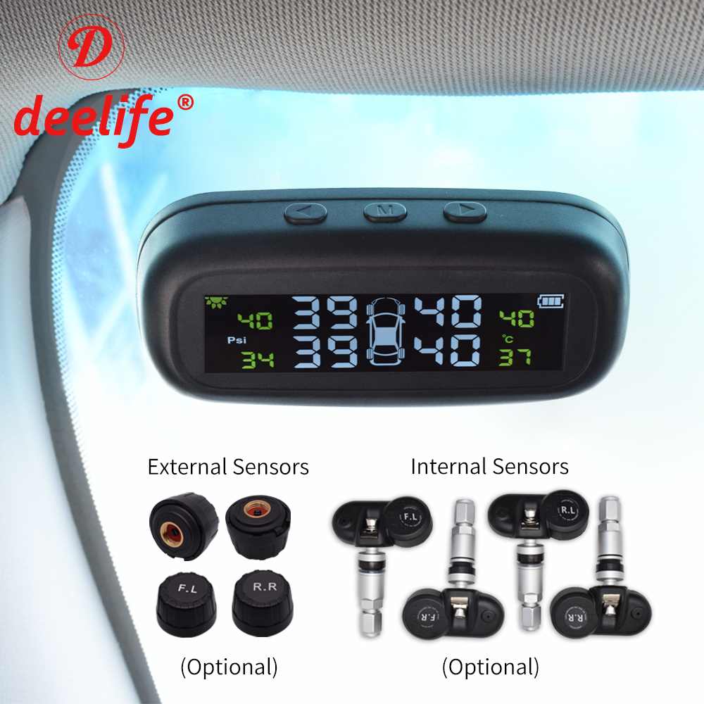 Deelife TPMS coche de control de presión de sistema de alarma parabrisas neumático Solar Sensor de Monitor interno externo de los sistemas de seguridad