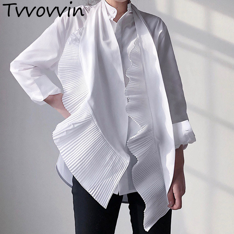 2019 New Spring And Summer Fashion Women Clothing Bow Collar Ruffles Pleated Single Breasted Shirt Female