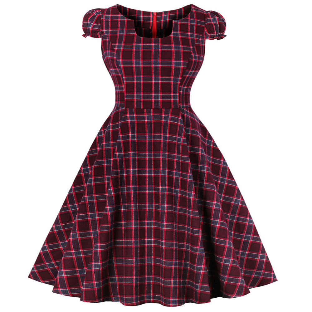 Joineles Plus Size Stripe Plaid Summer Vintage Dress 100%Cotton 4xl 5xl Women Retro Dress Short Sleeves Party Vestidos De Festa