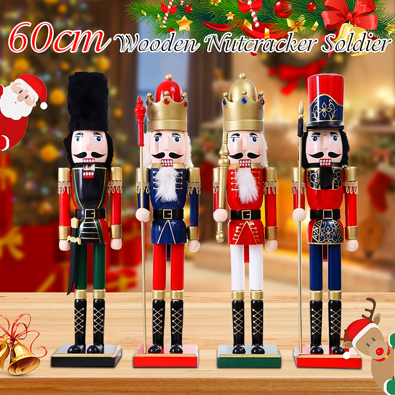 Christmas Ornaments Home Decoration Nutcracker Soldier Vintage Wooden Table Walnut Toy Handcraft Puppet  60cm 4 Designs Солдат