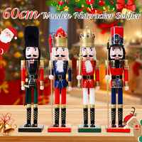 Christmas Ornaments Home Decoration Nutcracker Soldier Vintage Wooden Table Walnut Toy Handcraft Puppet Figurines 60cm