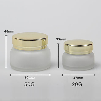 Empty cream glass bottle 50g frosted glass cream jar clear frosted bottle with shiny gold lid