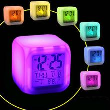 Hot 7 Colors LED Digital Alarm Clock Multifunction Thermometer Changing Night Light FBE3