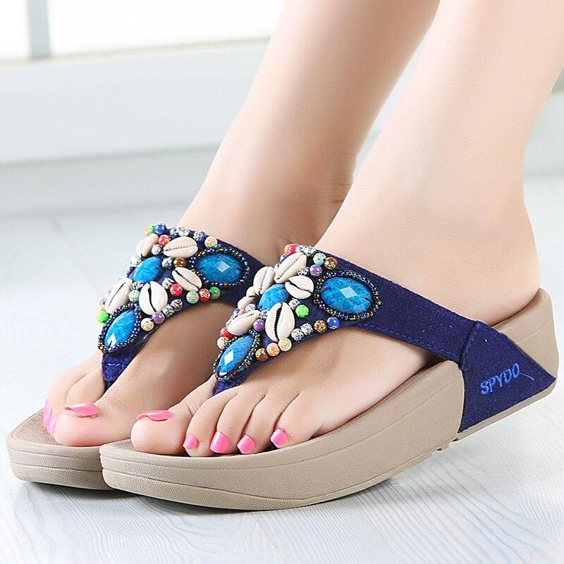 Fashion Newest Rhinestone Shell Beading Women's Beach Flip Flops Bohemian Sandals Slipper Platform Wedge Flip Flops Shoes Woman
