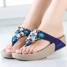 Fashion Newest Rhinestone Shell Beading Womens Beach Flip Flops Bohemian Sandals Slipper Platform Wedge Shoes Woman