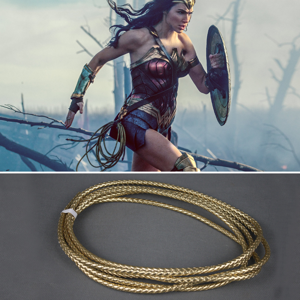 Superhero Wonder Woman Diana Prince Cosplay Weapon Mantra Lasso 3 Meters Long Gold Halloween Cosplay Accessories Holiday Gift