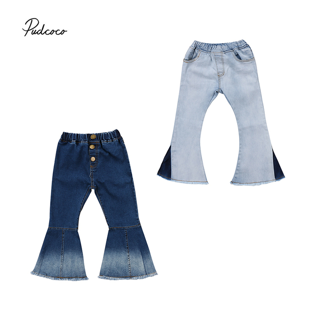 07f0fdefe85e Pudcoco Fashion Denim Pants Kids Baby Girls 2018 New Bell-Bottom Long Pants  Wide Leg Jeans Trousers 2-7T