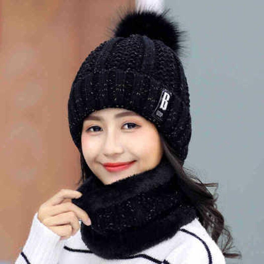 2 Stücke Set Frauen Winter Hüte Schal Gestrickte Warme Fleece Bommel Beanie Caps Ring Schal Sets Damen Mädchen Pelz Hut Snood Zubehör 100% Garantie