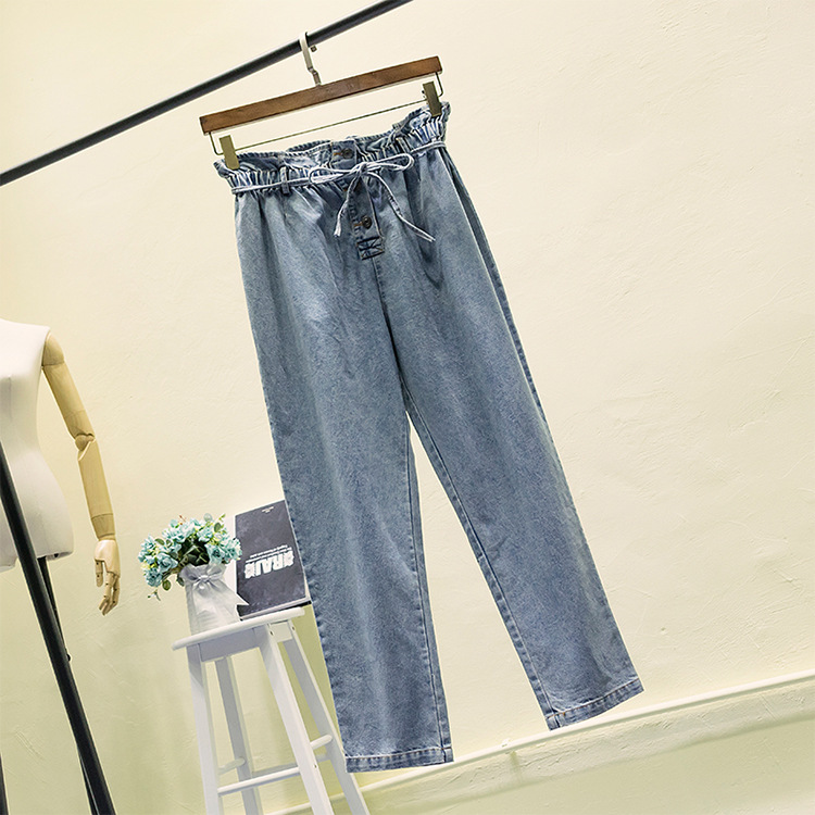 2XL-5XL Large size Women Wide Leg   Jeans   2019 Summer Plus size Loose   Jeans   Casual High Waist Wide Leg Denim Pants Big Size   Jeans