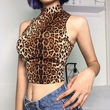 e288cbf858d2e women sexy leopard print turtleneck short vest crop top lady high street  off shoulder sleeveless crop