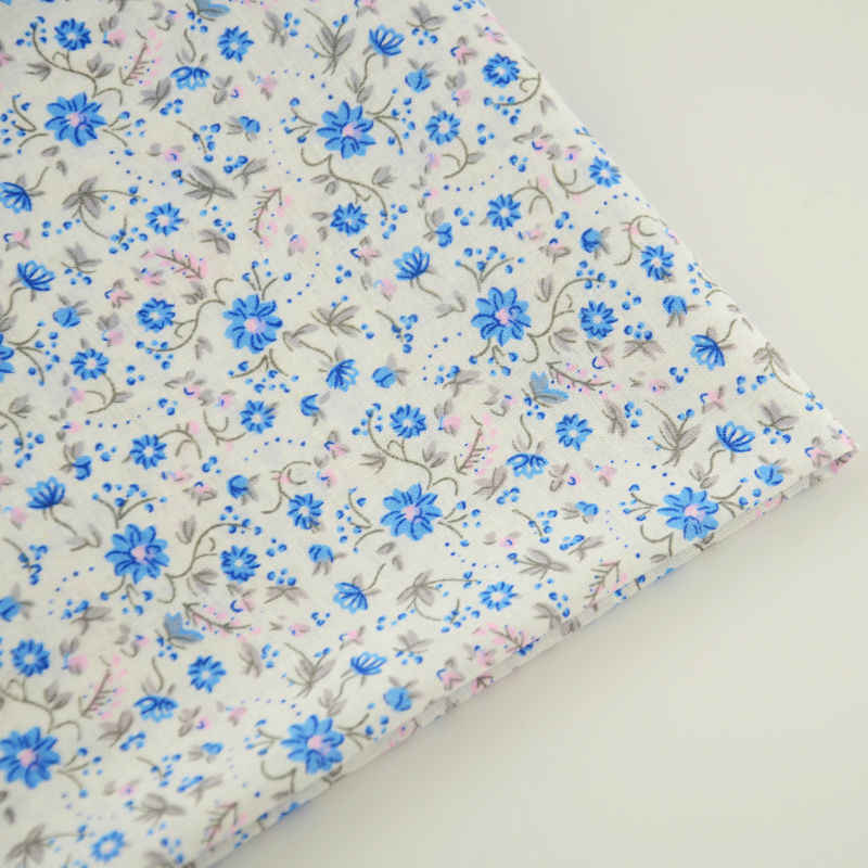 Cotton Fabric Lovely Blue Flowers Tissue Home Textile Sewing Cloth Craft Curtain Decoration Fat Quarter for Beginner's Practice