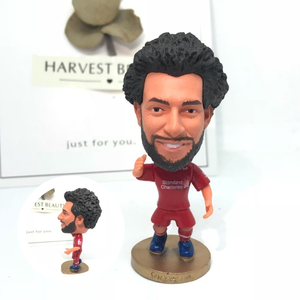 Soccerwe Soccer Doll Figurine Football Stars Mohamed Salah 11 2019 Movable Joints Resin Collectible Model Toy Action Figure