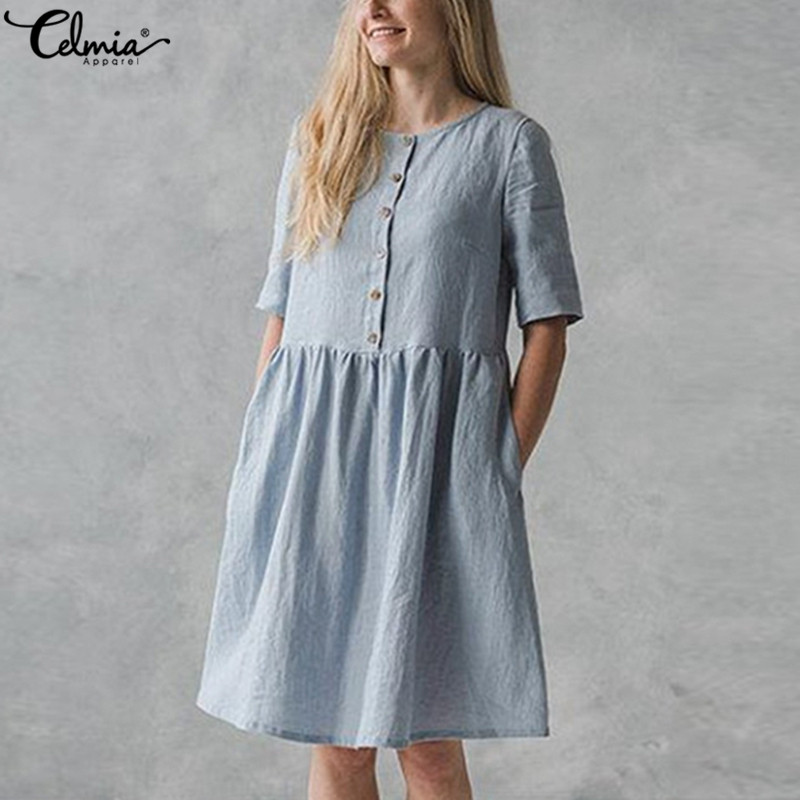 Celmia Women Vintage Cotton Shirt Dress 2019 Summer Short Sleeve ButtonS Loose Solid Casual Party Knee-length Vestidos Plus Size
