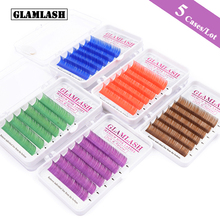 GLAMLASH 5 Cases/Lot Natural Soft Brown Purple Blue Green Red Eyelash Extension individual Faux Mink Silk False lashes cilia