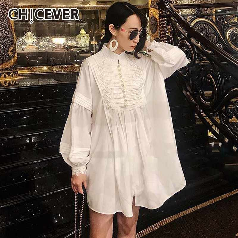CHICEVER Summer Embroidery Lace Vintage White Dress Female Lantern Long Sleeve Stand Collar Party Dresses Women Fashion New 2019