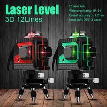 3D IP54 Водонепроницаемый 12 линий зеленый лазерный уровень самонивелирующийся 360 горизонтальный и вертикальный крест супер мощный зеленый лазерный луч