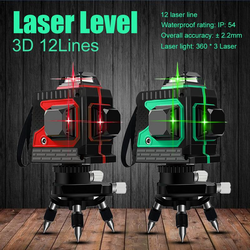 3D IP54 Waterproof 12 Lines Green Laser Levels Self Leveling 360 Horizontal And Vertical Cross Super Powerful Green Laser Beam