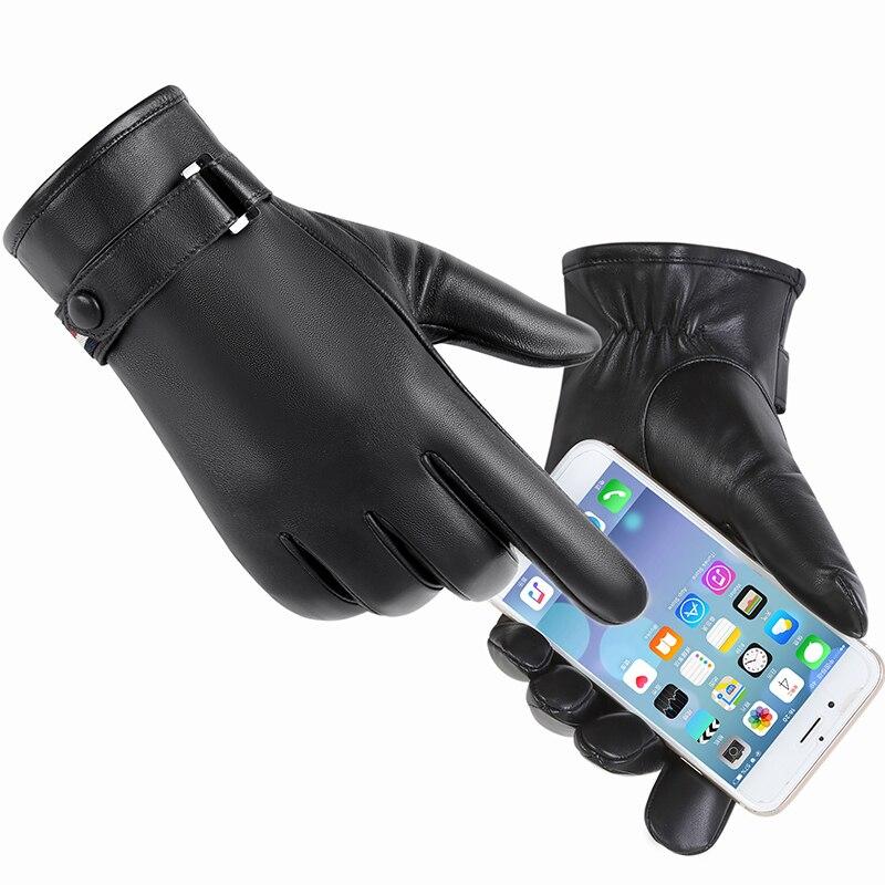 Gants en cuir véritable homme hiver chaud en peau de mouton téléfinger gants ajouter velours épais chaud gants hommes écran tactile gants MLZ115 - 3