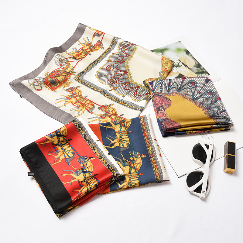Luxury New Pattern Horse 70X70CM Women Square   Scarf   All-match   Wraps   Elegant Floral Spring Head Neck Hair Tie Band Neckerchief