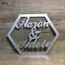 Personalized Custom Name Rustic Wedding Sign Hexagonal Wooden Hanging Signs Vintage Decoration Wood Photo Booth Props