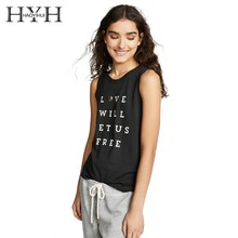 HYH Haoyihui 2019 Summer Black Girl New Pure Color Shirt Simple Style Tank Tops Personalized Letter Print Vest