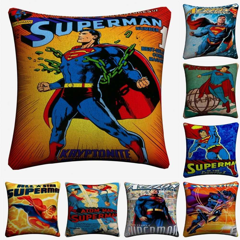 Vintage Superman Comic Movie Art Decorative Cotton Linen Cushion Cover 45x45cm For Sofa Chair Pillow Case Home Decor Almofada