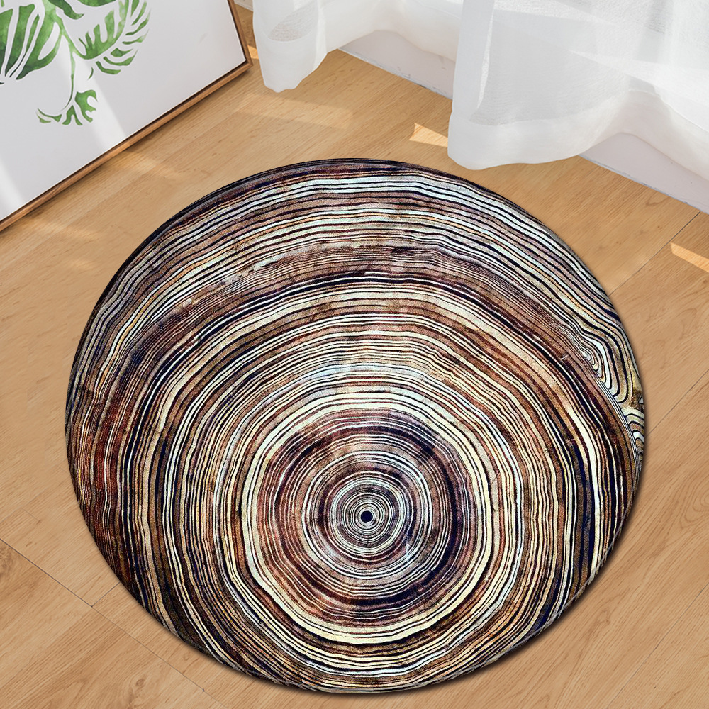 2019 Popular Dry Wood Grain 3D Pattern Round Carpet For Kids Room Computer Chair Rugs vloerkleed teppich 10 Kinds Styles