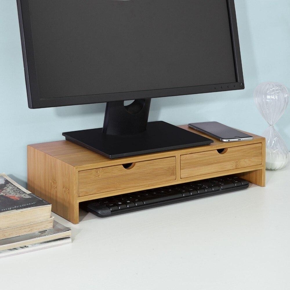 SoBuy FRG198-N bambou moniteur Stand ordinateur écran moniteur Riser organisateur de bureau avec 2 tiroirs