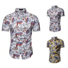 Hawaiian Blouse Mens clothing Slim Fit Floral Shirts Short Sleeve Shirt for Man White yellow New