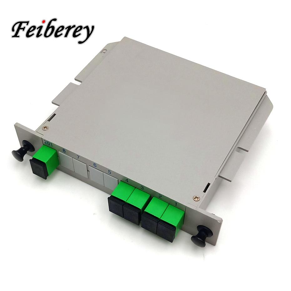 Free Shipping 1x4 SC/APC Fiber Optic Splitter 1:4 LGX Cassette Box FTTH SC/APC Fibre Optic PLC Splitter With SC APC Adapter