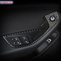 Carbon Fiber Car Interior Decoration Door Window Switch Control Panel Trims For Audi A6 C7 Accessories Car Styling Stickers