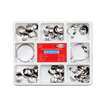 100pcs Dental Matrix Sectional Contoured Metal Matrices No1.398 Full Kit with 2pcs Ring for Teeth Replacement цена 2017