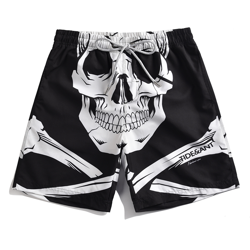 Men's White Skull Printed   Board     Shorts   Quick Dry Surfing   Shorts   Man Beach Pants Loose Beach Pants M-4XL Knee Length Swim   Shorts