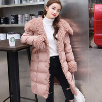 parkas winter woman 2018 splicing cotton padded clothes long hooded pure color fashion fashion slim women's winter jacket coat